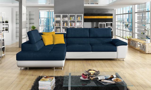 Luxusní sedací souprava Cinnamon, bílá/modrá