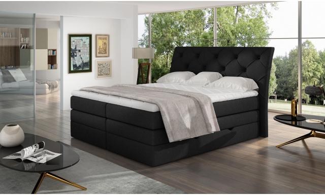 Kvalitní box spring postel Marek 180x200, černá