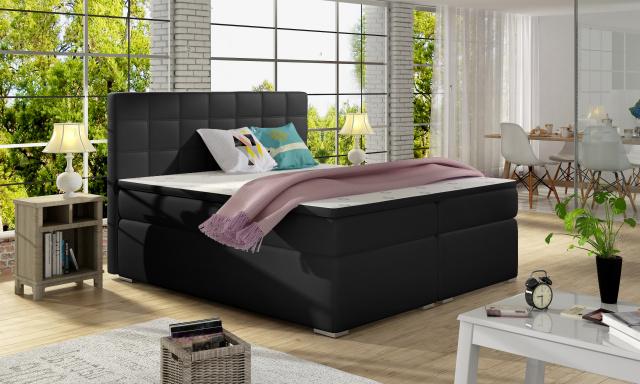 Luxusní box spring postel Alvares 180x200, černá eko-kůže