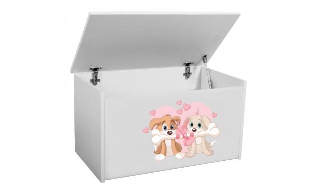 Box na hračky Denia, bílý + pejsci