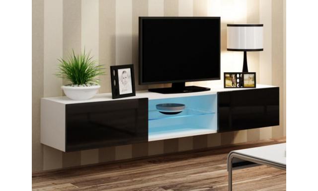 Moderní televizní stolek Igore 180 GLASS, bílá/černý lesk