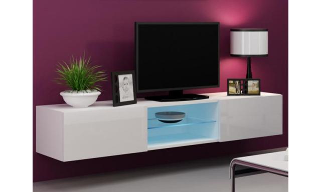Moderní televizní stolek Igore 180 GLASS, bílá/bílý lesk