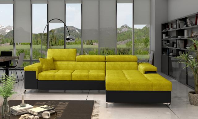 Moderní rohová sedačka Relina, černá/žlutá