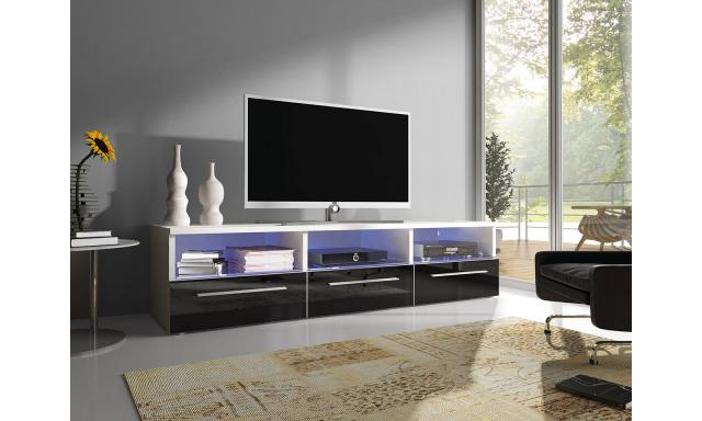 Moderní TV stolek Rabia 150, bílá/černý lesk + LED