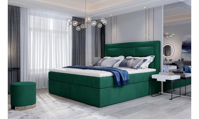 Kvalitní box spring postel Vanity 180x200, zelená Monolith