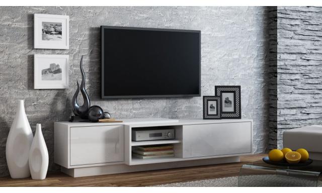 TV stolek Santiago, bílá/bílý lesk