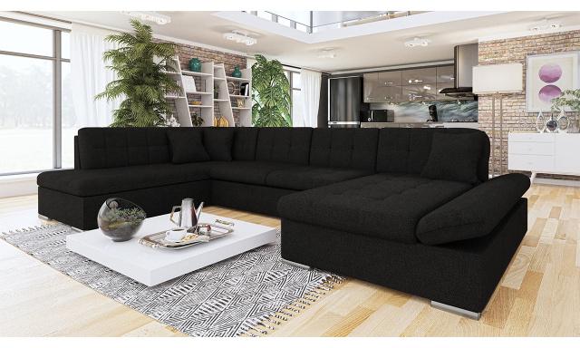 Luxusní sedačka ve tvaru U Bravo, černá