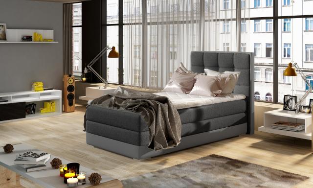 Moderní box spring postel Adria 90x200, šedá