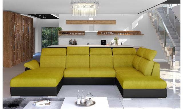 Rohová sedačka ve tvaru U Estonia, černá/žlutá