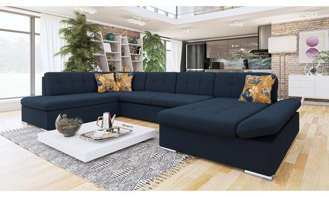 Luxusní sedačka ve tvaru U Bravo, modrá