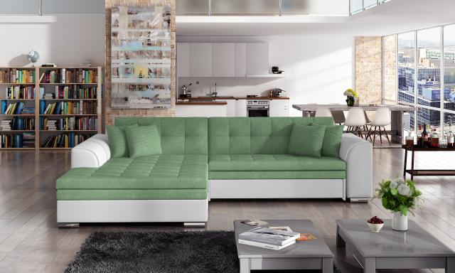Moderní rohová sedačka Santos, bílá/zelená