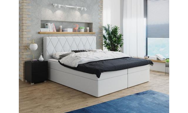 Moderní box spring postel Stefanie 140x200, bílá