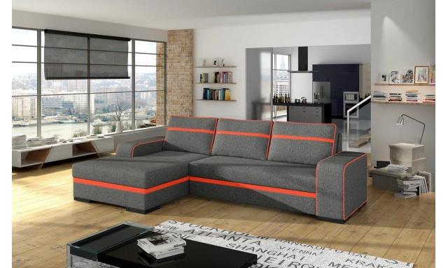 Moderní rohová sedačka Fonso, šedá/oranžová