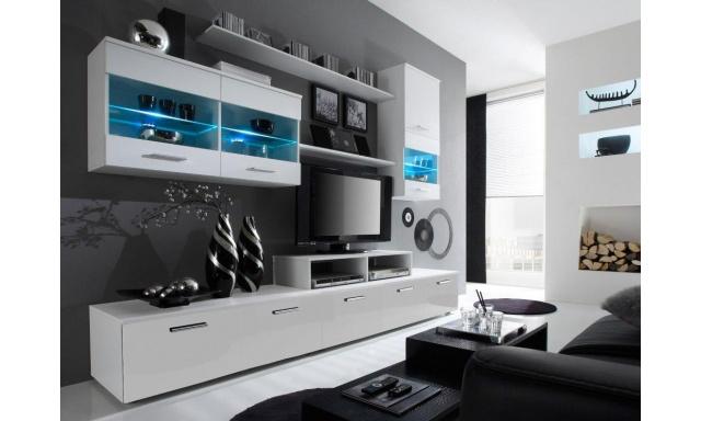 Obývací stěna Ogol II D, bílá/bílá, vysoký lesk