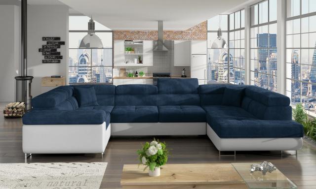 Rohová sedačka ve tvaru U Lester, bílá/modrá