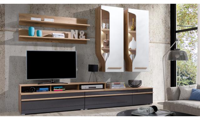 Moderní obývací stěna Paradise B, artisan/bílý + šedý lesk