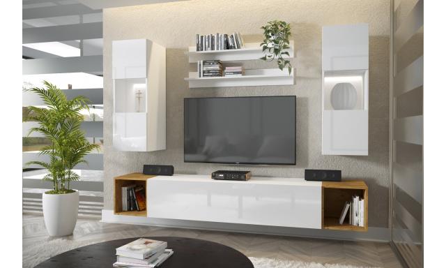 Moderní bytový nábytek Premio E, bílá/bílý lesk