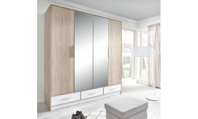 Šatní skřín Isabela, sonoma/bílá se zrcadlem