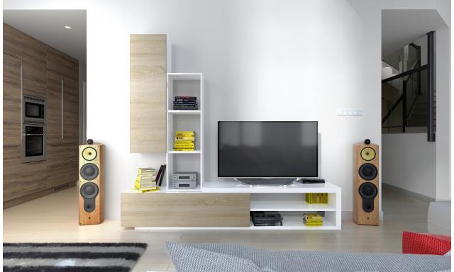 Moderní obývací stěna Naspe, bílá/sonoma