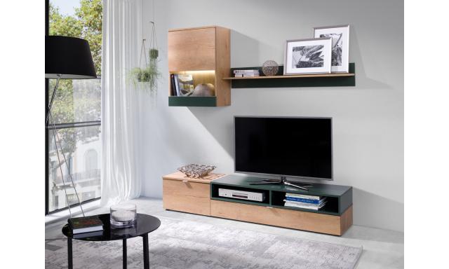 Moderní obývací stěna Roman, dub Lefkas/zelená