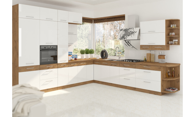 Luxusní rohová kuchyně Verizon, dub Lancelot / bílý lesk