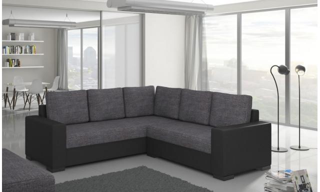 Moderní rohová sedačka Castel, černá/šedá