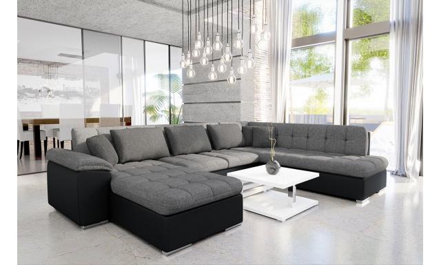 Luxusní sedací souprava Kalla, černá / šedá
