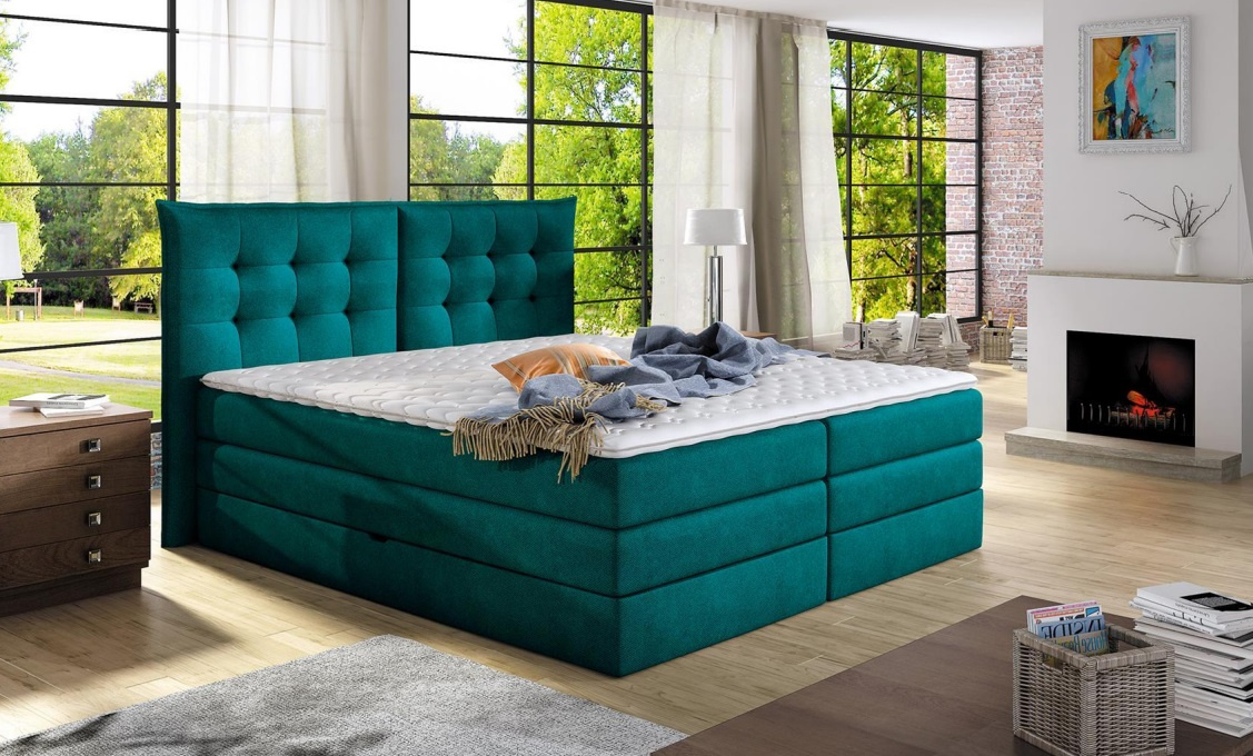 luxusn box spring postel field 140x200. Black Bedroom Furniture Sets. Home Design Ideas