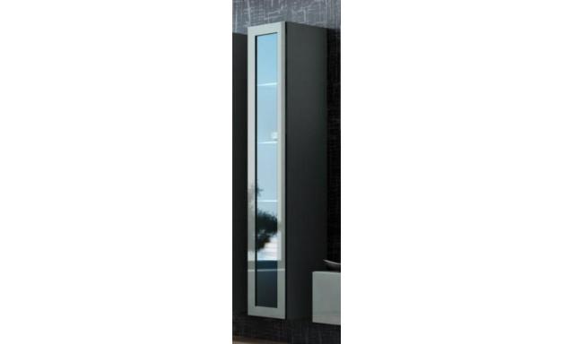Závěsná vitrína Igore 180 sklo, šedá/šedý lesk