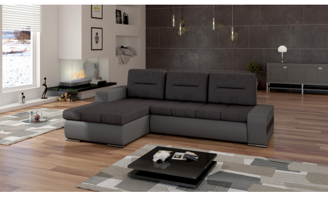 Moderní rohová sedačka Octavio, šedá/černá