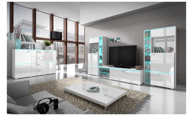 Luxusní obývací stěna Atom, bílý lesk