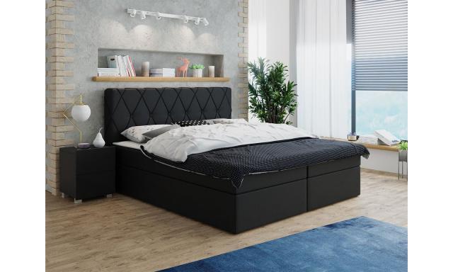 Moderní box spring postel Stefanie 180x200, černá