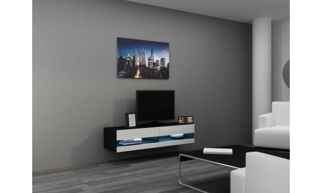 Moderní TV stolek Igore new 140, černá/bílý lesk
