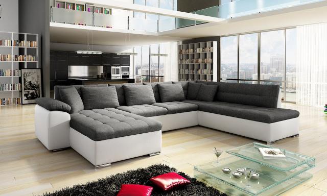 Luxusní sedací souprava Kalla, bílá/šedá