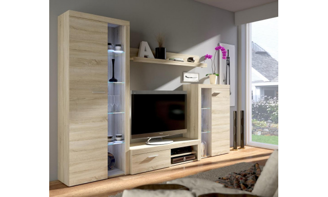 Moderní obývací stěna Rask, sonoma
