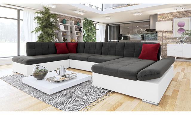 Luxusní sedačka ve tvaru U Bravo, bílá/tmavě šedá