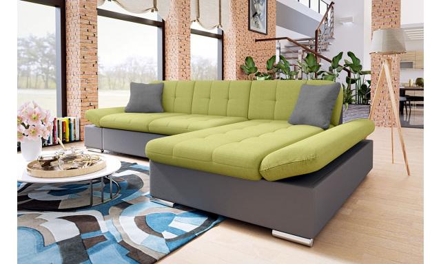 Moderní rohová sedačka Malaga, šedá/zelená