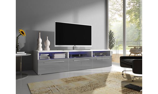 Moderní TV stolek Rabia 150, bílá/šedý lesk + LED