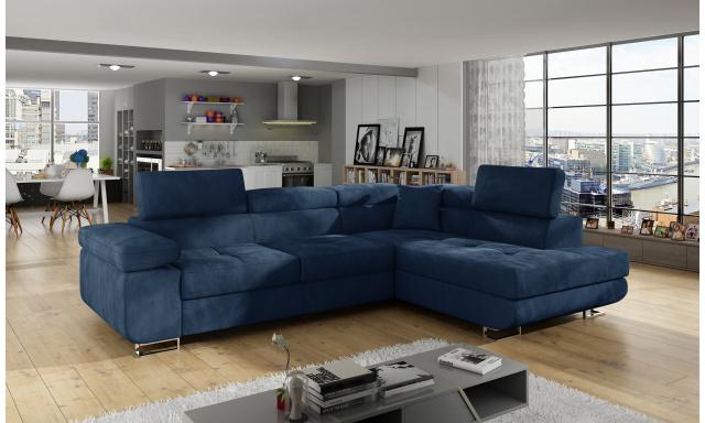 Moderní rohová sedačka Astra, modrá