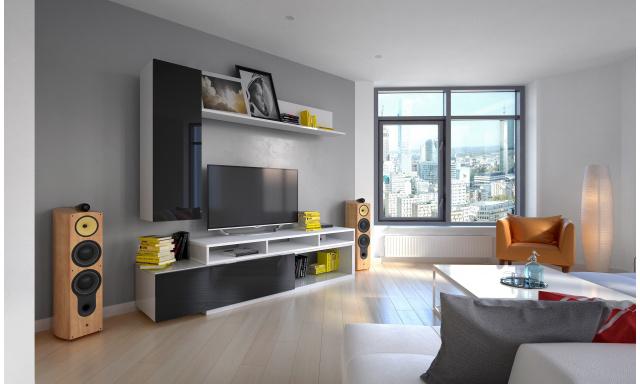 Moderní obývací stěna Marie, bílá/černý lesk