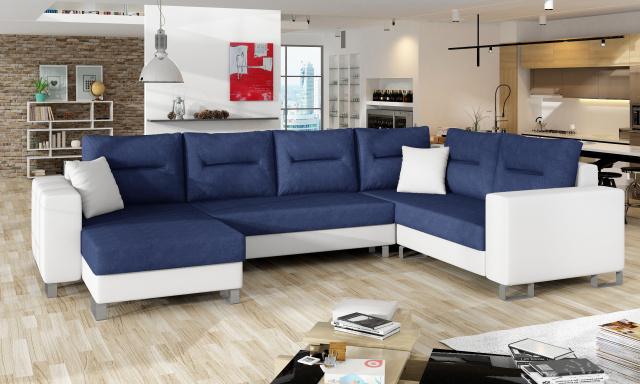 Kvalitní rohová sedačka Dorris, bílá/modrá