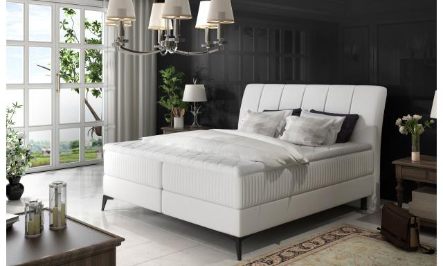 Elegantní box spring postel Ariana 180x200, bílá