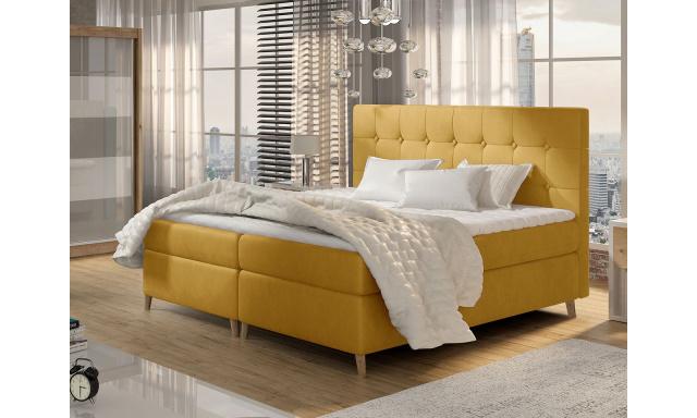 Moderní box spring postel Ariel 180x200, žlutá