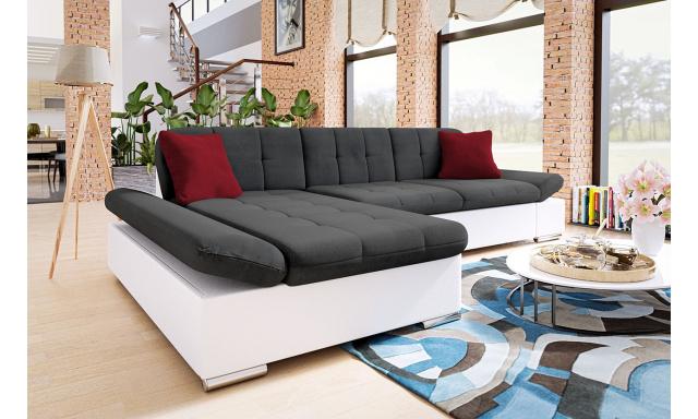 Moderní rohová sedačka Malaga, bílá/tmavě šedá