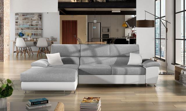 Luxusní sedací souprava Cres, bílá/šedá