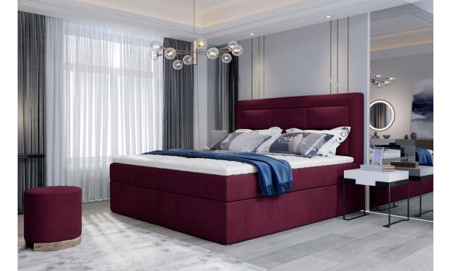 Kvalitní box spring postel Vanity 180x200, vínová Velvet