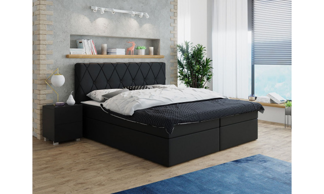Moderní box spring postel Stefanie 140x200, černá