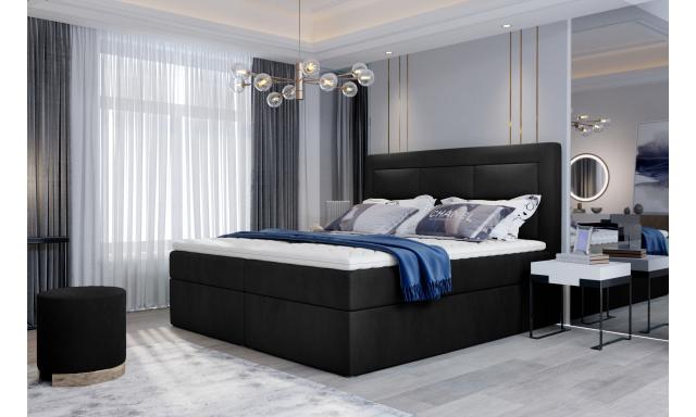 Kvalitní box spring postel Vanity 180x200, černá Velvet