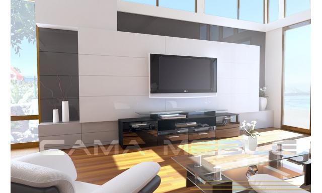 TV stolek Evora, černá/černý lesk