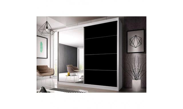 Šatní skřín Malta 31, bílá/černý lesk 203cm